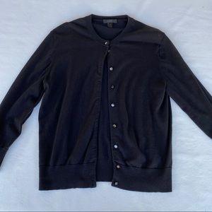 J. Crew Cotton Jackie Cardigan Sweater Black Large